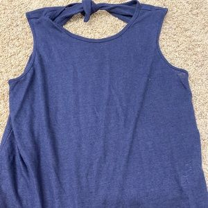 Navy tank top with cut out back